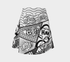 Comic Speech Bubbles Flare Skirt in Black & White