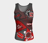 Fitted Tank Top - Comic Speech bubbles in Spanish / Español - Red & Dark Gray - Long Fit