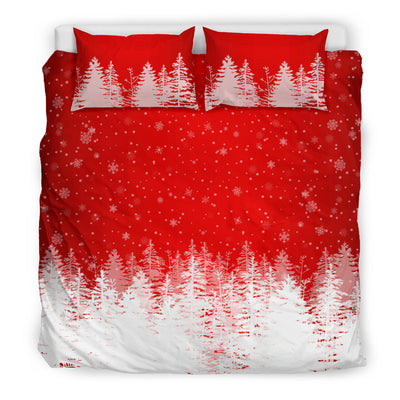 Christmas Trees in Snow Red Duvet Set king