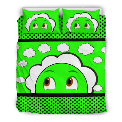 Bubblelingo Dreamer Speech Bubble Green Cloud Duvet Set  Full/Queen