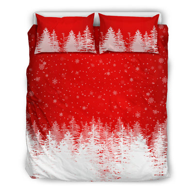 Christmas Trees in Snow Red Duvet Set queen