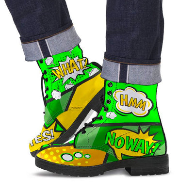 Comic Green Men's Vegan Leather Boots