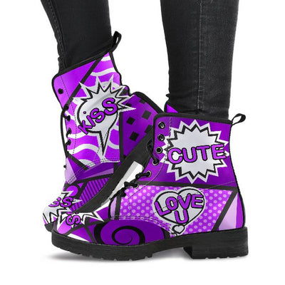 Women's Comic Speech Bubble Boots purple