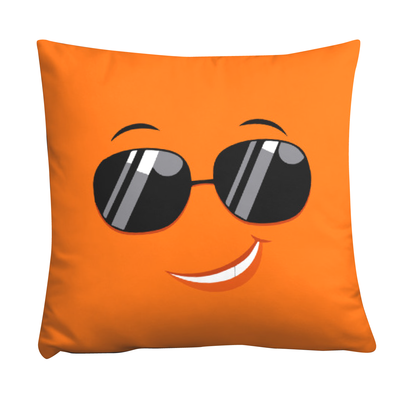 "Bubblelingo  ""Cool Dude""  Orange Throw Pillow"