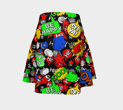 """Hi"" Multicolor comic Speech Bubbles Flare Skirt"