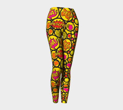 Bubblelingo Performance Fit Classic Leggings - Chat bubbles in Circles - Yellow
