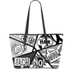 Comic Print Black & White Vegan Leather Tote