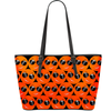 Cool Emoji Print Vegan Leather Tote orange