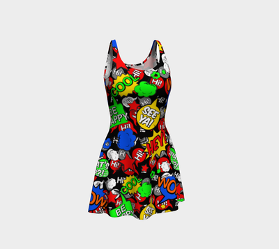 """Hi"" Multicolor comic Speech Bubbles Flare Dress"