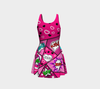 Comic Speech Bubbles  Flare Dress in Pink