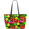 Large PU Vegan Leather Tote Multicolored Emoji & Speech Bubbles  Smaller Print