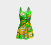 Bubblelingo Flare Dress - Comic Speech Bubbles - Green