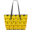 Happy Emoji Print Vegan Leather Tote
