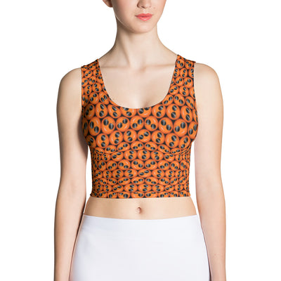 Cool Emoji Print in Orange Fitted Tank Crop Top