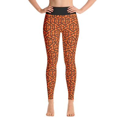 Cool Emoji Print  Orange Yoga Leggings