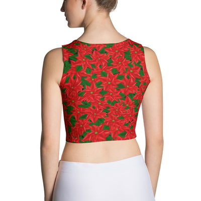 Poinsettia Print Red Holiday Crop Top