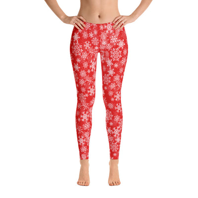 Snowflake Print Leggings Red