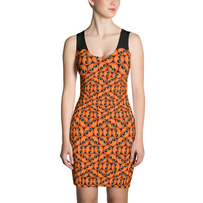 Cool Emoji Print Orange Tank Dress