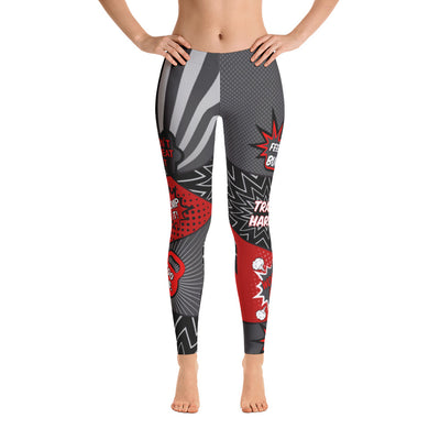 Comic Speech Bubbles  Classic Leggings in Red & Gray
