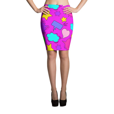 Fitted Pencil Skirt - Multi Color Speech Bubbles - Hot Pink