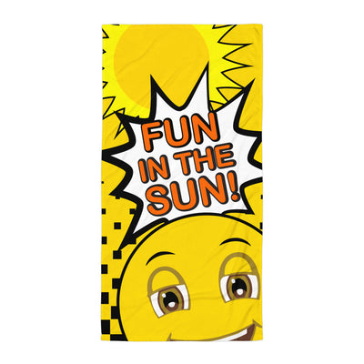 Fun in the Sun Happy Emoji Beach Towel  Yellow