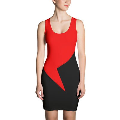 Red Heart Over Black Fitted Bodycon Tank Dress