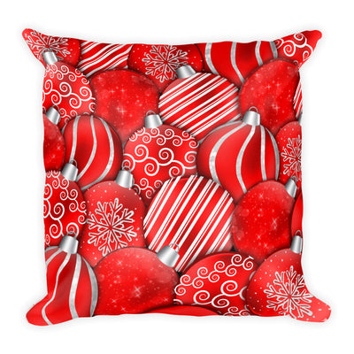 Red Christmas Ornaments Throw Pillow