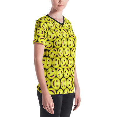 Happy Emoji All-over Print Women's V-neck T-shirt For ALSF