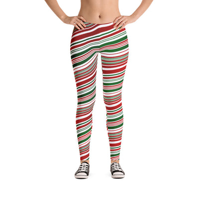 Candy Cane Striped Leggings front