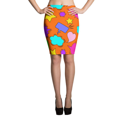 orange mutli-color speech bubbles printed, body-hugging pencil skirt
