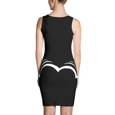 White Bubble On Black fitted bodycon Tank Dress