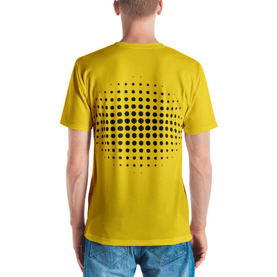 Happy Face Emoji Sppech Bubble  Yellow V Neck Men's T-shirt back view
