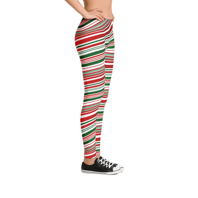 candy cane striped leggings side view