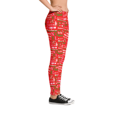 Christmas Lingo Red Leggings side view phrases