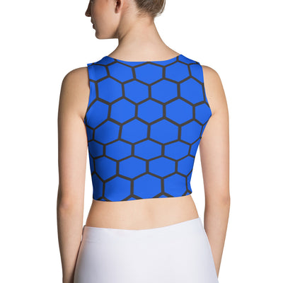 Honeycomb Print Blue Crop Tank Top