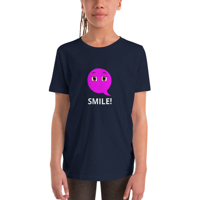 Bubblelingo  Smiley Emoji  Girls' Sleeve T-Shirt Navy
