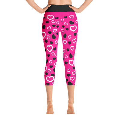XOXO Pink Hearts Yoga Capri Leggings