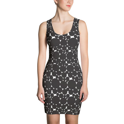 Circle print, fitted dress. Bodycon