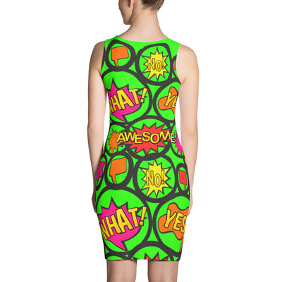 Comic Circle Green tank bodycon dress