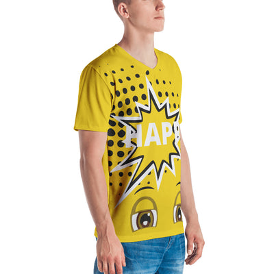 Happy Emoji  Yellow V Neck Men's T-shirt