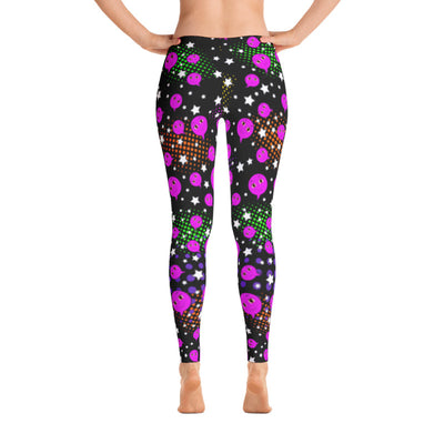 Pink Smiley On Black Leggings with Stars