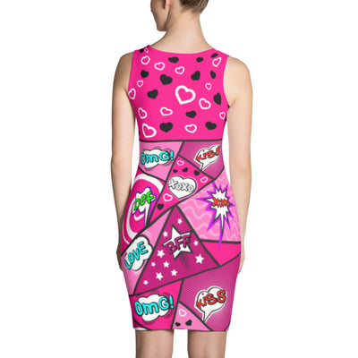 Comic Speech Bubbles Fitted Tank Dress in Pink