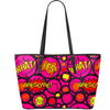 Comic Circle  Print Vegan Leather Tote in Pink