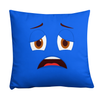 Bubblelingo Scaredy Cat Blue Throw Pillow square