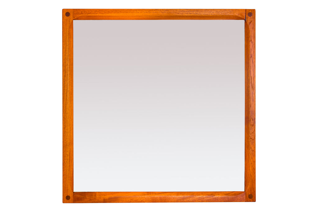 -SOLD- Teak Small Square Mirror by Aksel Kjersgaard