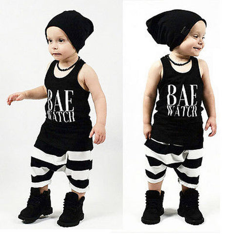 7023eeac2593 Summer baby boy clothes Newborn Infant Baby Boy Letter Vest Tops + Stripe Shorts  Pants Outfit