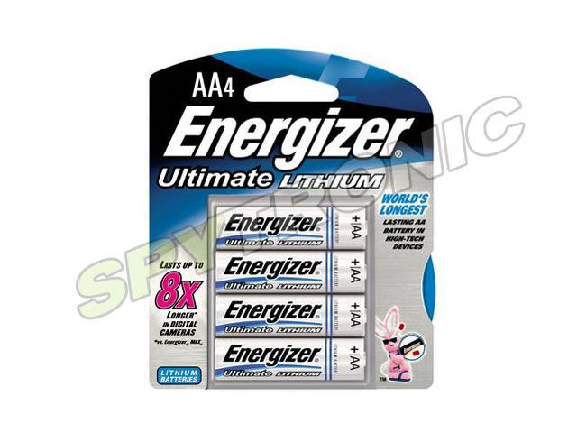 4 Long Life AA Energizer Ultimate Lithium Batteries