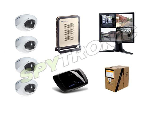 4 IP dome cameras, NVR audio video digital recorder Set