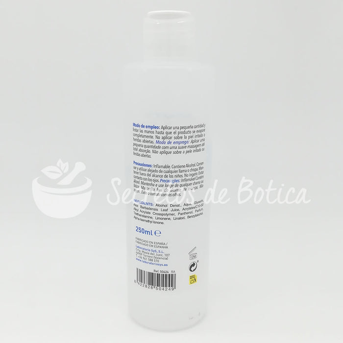 Gel hidroalcohólico 250ml. 70% Alcohol con aloe vera · Laboratorios SYS Valencia · Secretos de Botica