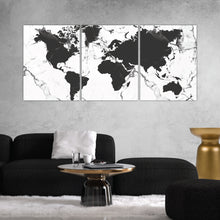 Load image into Gallery viewer, World Map Black & White Marble Print